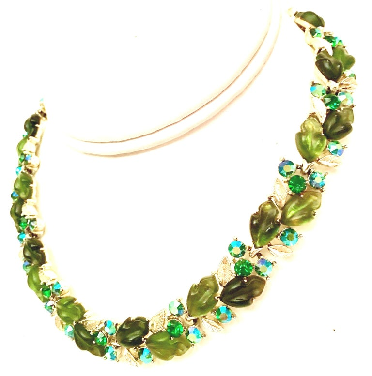 1950'S Organic Modern Gold Plate, Carved Frosted Lucite & Austrian Crystal Choker Style Necklace And Pair Of Earrings Set Of Three Pieces By, Lisner This coveted and finely crafted three piece set features prong set,