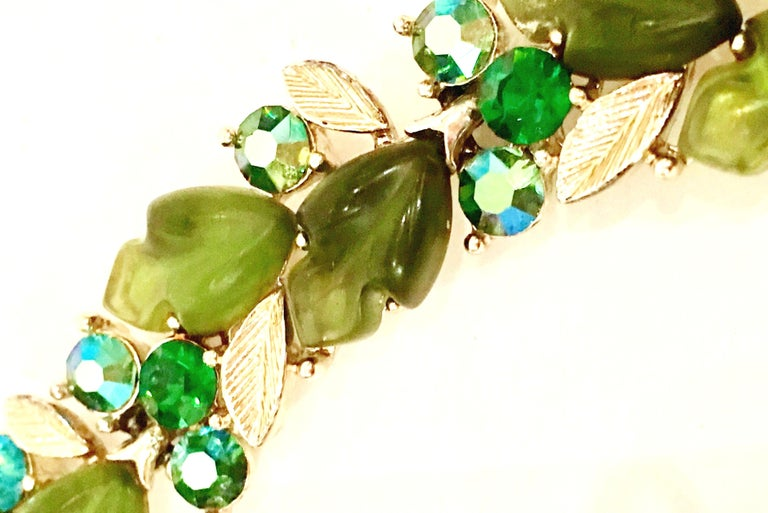 Women's 1950'S Gold Lucite & Austrian Crystal Choker Necklace & Earrings S/3 By, Lisner For Sale