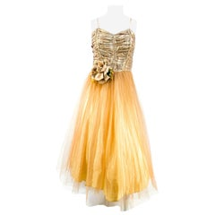 1950s Gold Metallic Party Dress