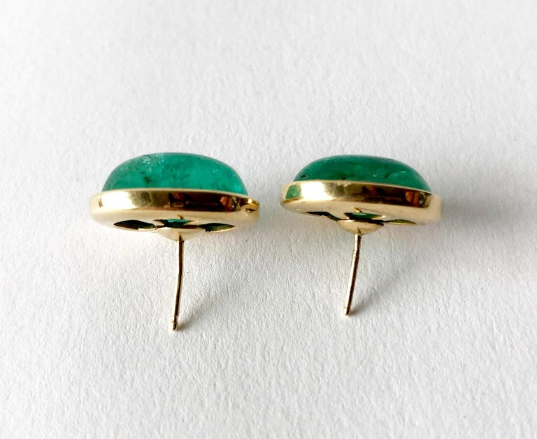 Modernist 1950s Gold Oval Emerald Cabochon Pierced Earrings For Sale