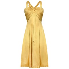 1950s Gold Pleated Bodice Silk Satin Cocktail Dress