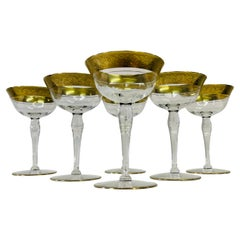 1950s Gold Rambling Rose Tall Glass Coupes, Set of 6