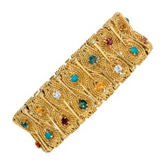 1950s Gold Ropetwist and Multicolored Stone Bracelet of Stylized Foliate Design
