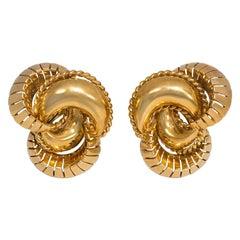 1950s Gold Stylized Knot Earrings