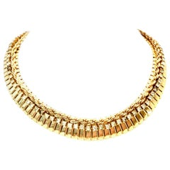 1950'S Gold & Swarovski Crystal Choker Link Necklace By, Jewels By Julio