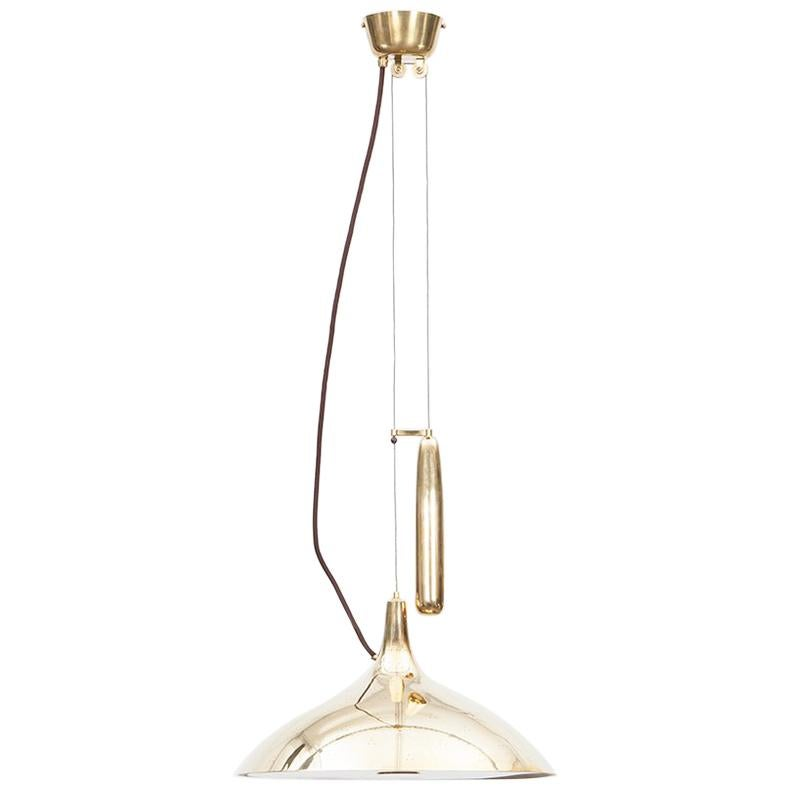1950s Golden Brass Ceiling Lamp by Paavo Tynell 'D'