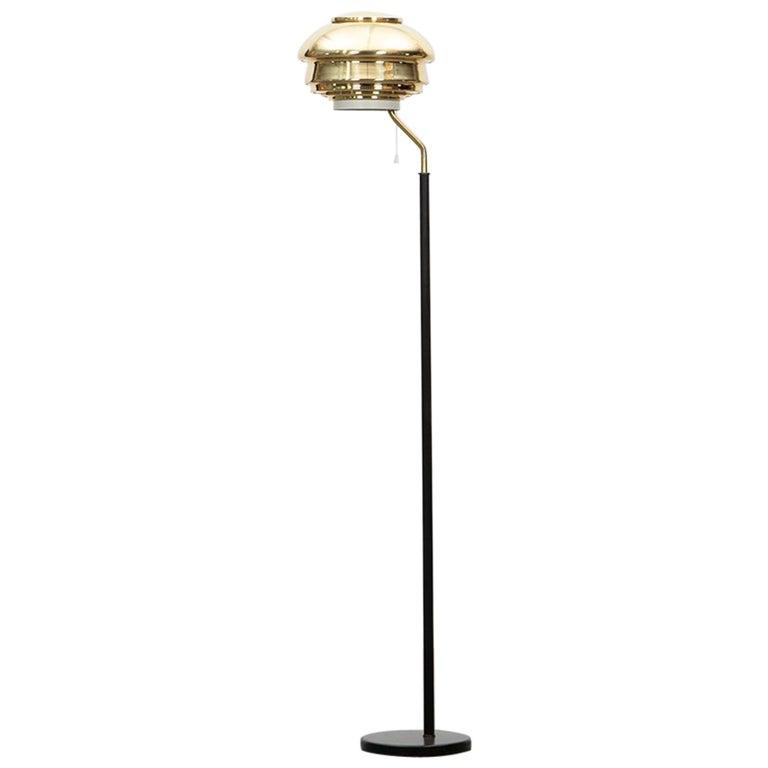 1950s Golden Brass Floor Lamp by Alvar Alalto For Sale