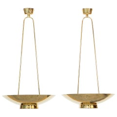 1950s Golden Brass incredible Pair of Pendant Lamps by Paavo Tynell