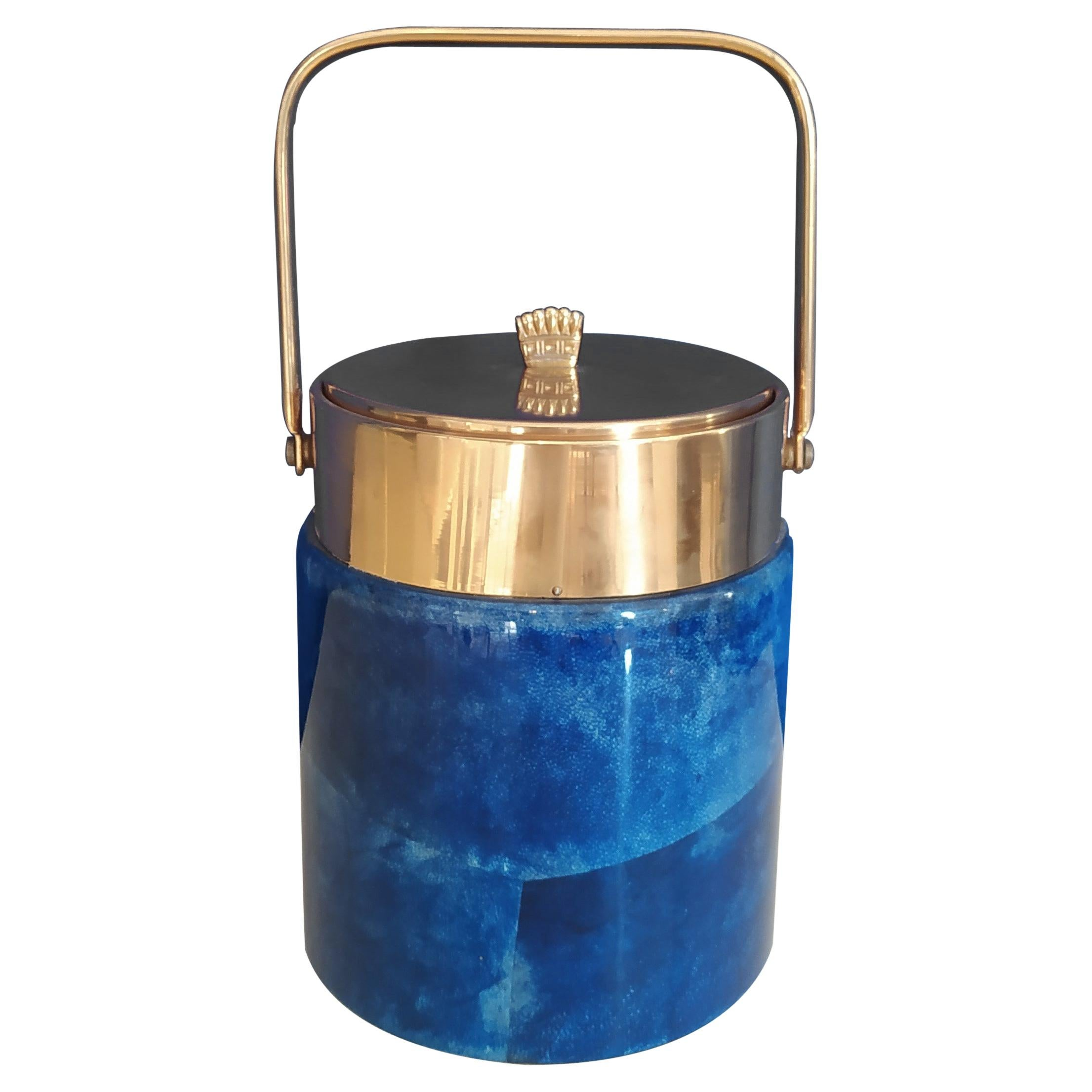 1950s Gorgeous Ice Bucket in Blue Parchment and Brass by Aldo Tura