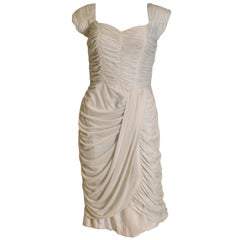 1950s Grecian Style Gathered Dress