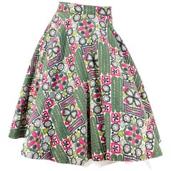 1950s Green and Magenta Printed Circle Skirt