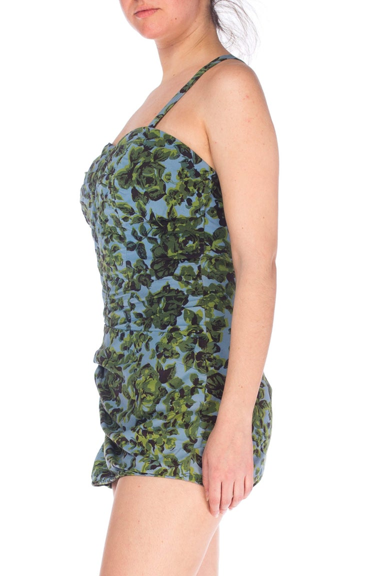 1950S Green & Blue Cotton Blend Floral Printed Swimsuit For Sale 1