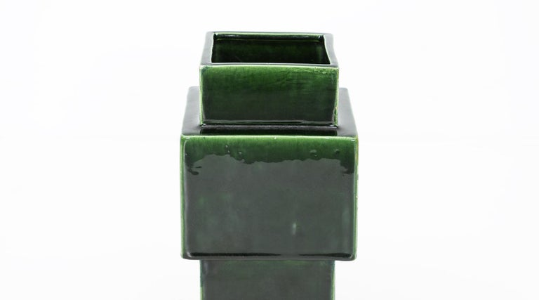 Mid-Century Modern 1950s Green Ceramic Vase by Ettore Sottsass 'h' For Sale