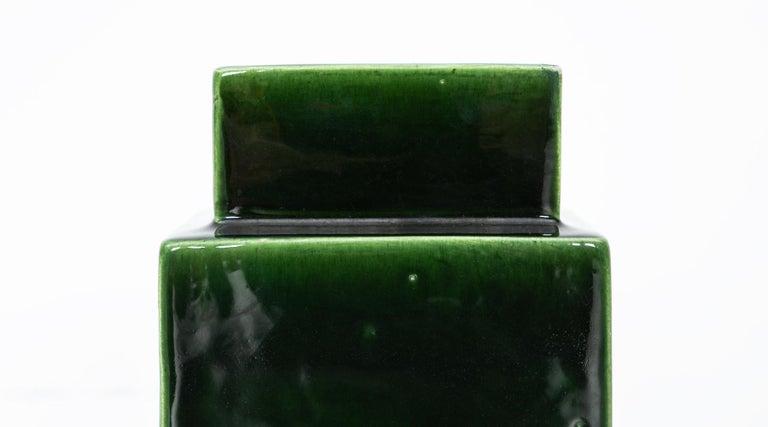 Italian 1950s Green Ceramic Vase by Ettore Sottsass 'h' For Sale