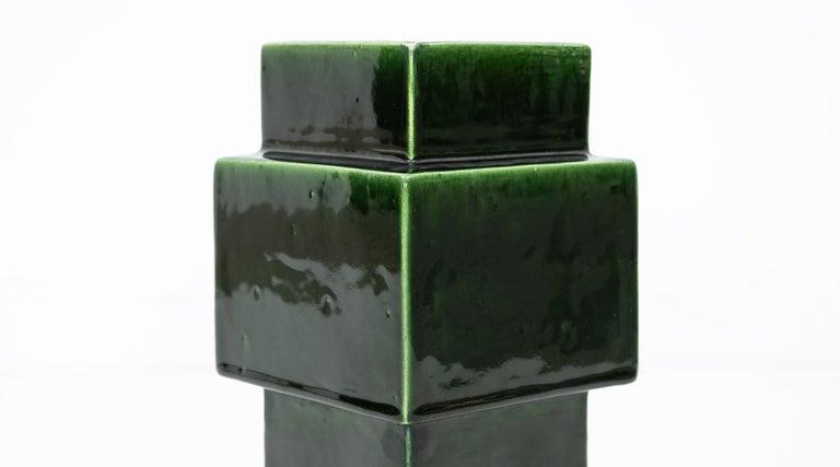1950s Green Ceramic Vase by Ettore Sottsass 'h' In Good Condition For Sale In Frankfurt, Hessen, DE