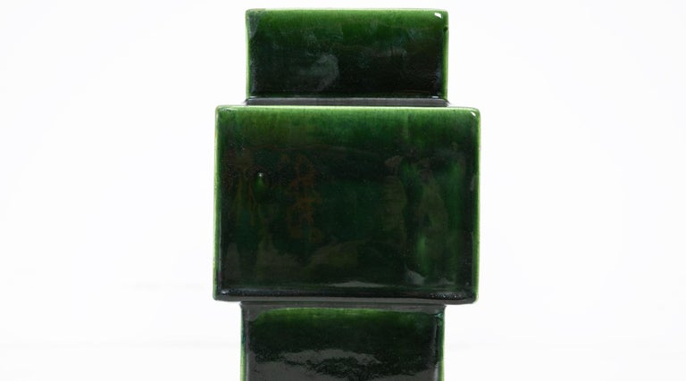 Late 20th Century 1950s Green Ceramic Vase by Ettore Sottsass 'h' For Sale