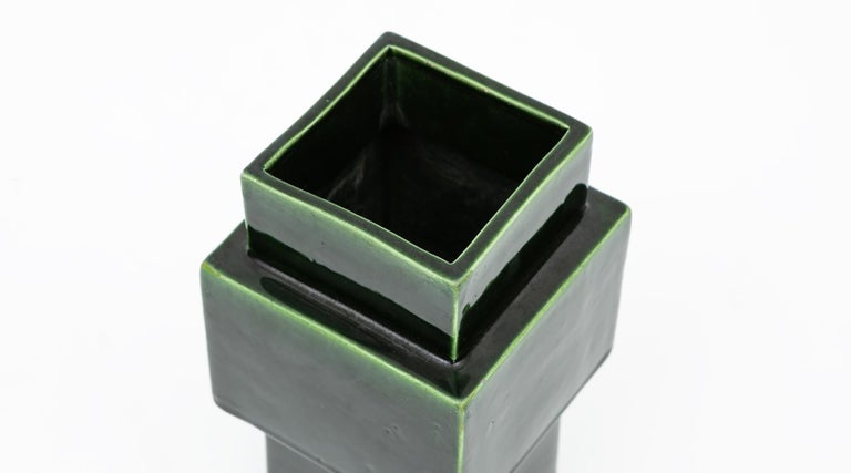 1950s Green Ceramic Vase by Ettore Sottsass 'h' For Sale 1