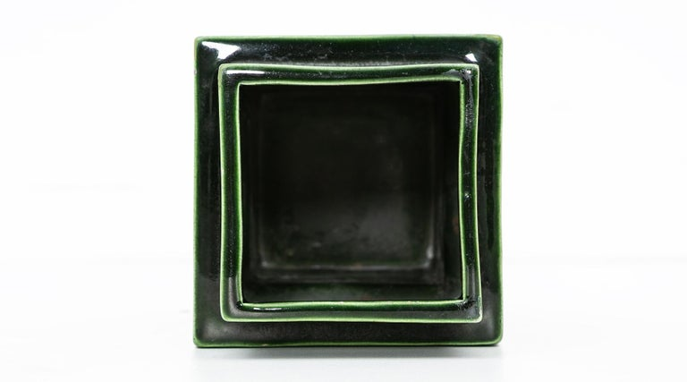 1950s Green Ceramic Vase by Ettore Sottsass 'h' For Sale 2