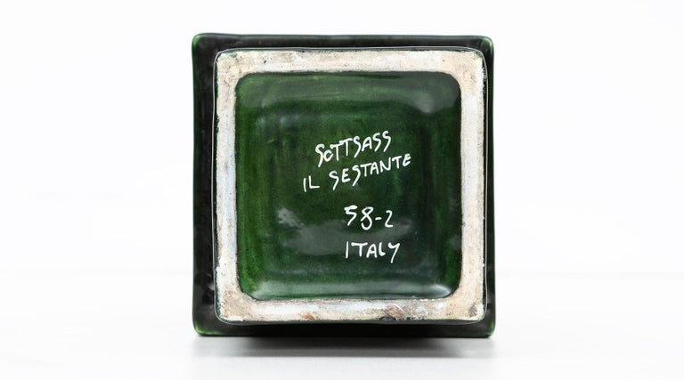 1950s Green Ceramic Vase by Ettore Sottsass 'h' For Sale 3