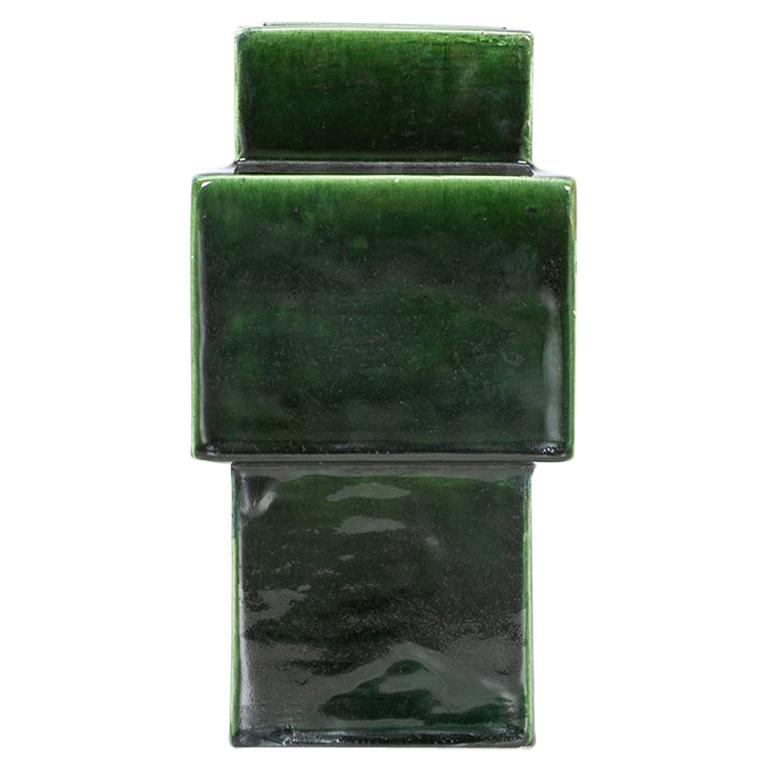 1950s Green Ceramic Vase by Ettore Sottsass 'h' For Sale