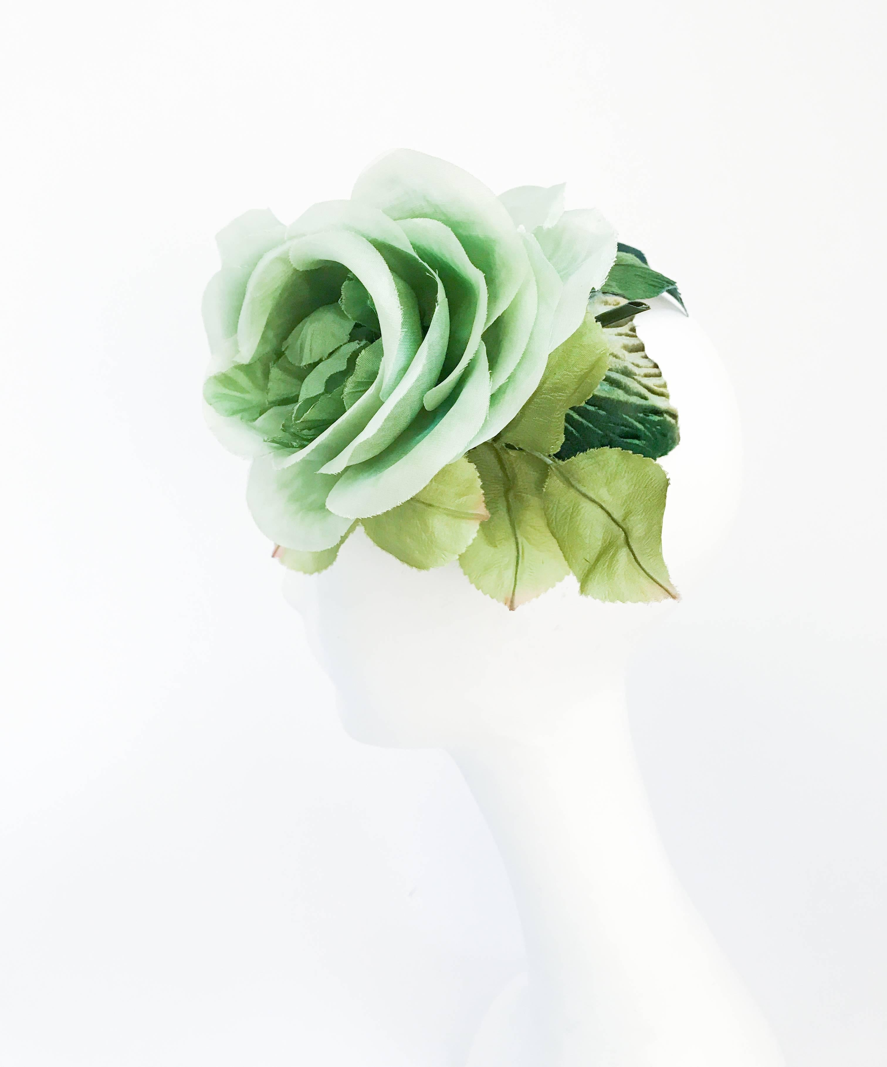 1950s green cocktail hat with green silk flower at 1stdibs mightylinksfo