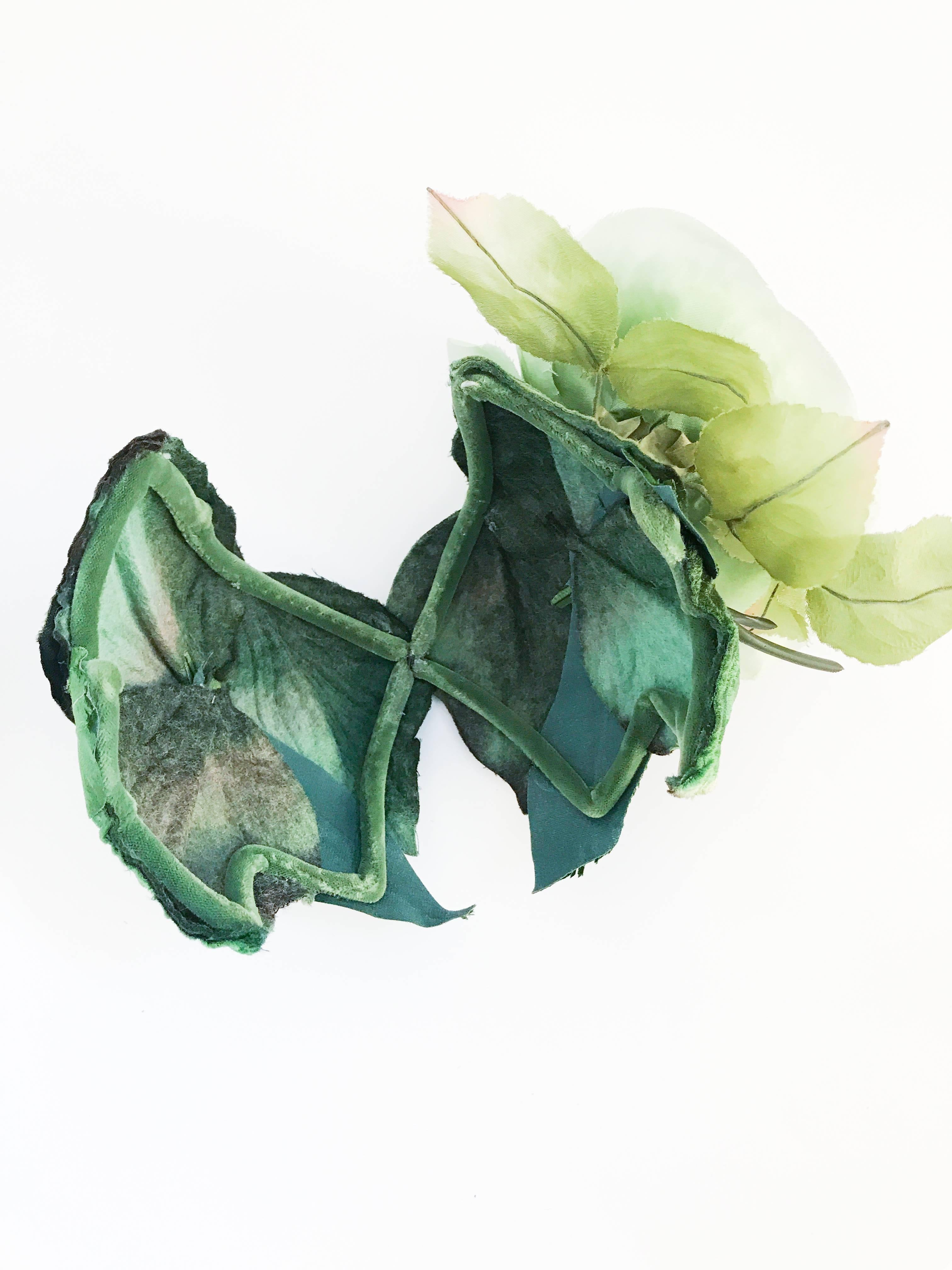 1950s Green Cocktail Hat With Green Silk Flower At 1stdibs