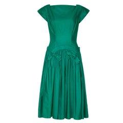 1950's Green Cotton Drop Waist Dress