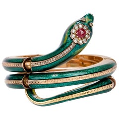 1950s Green Enamel Diamond Ruby Snake Gold Bracelet