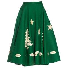 1950S Green Felt Christmas Tree  Skirt