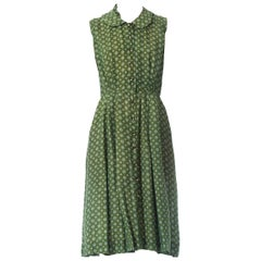 1950S Green Foulard Silk Dress Button Front