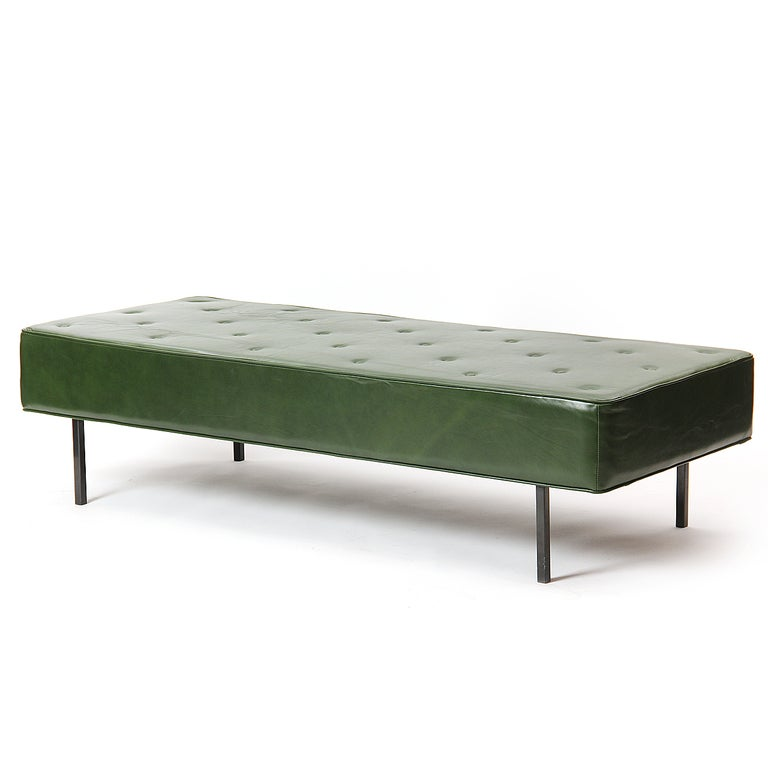 American 1950s Green Leather Daybed by Florence Knoll