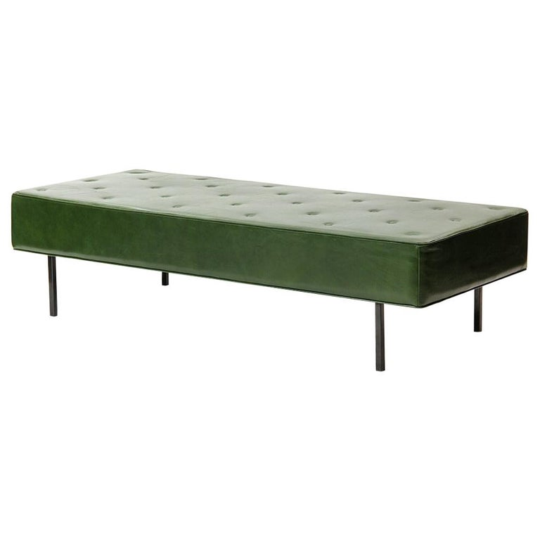 1950s Green Leather Daybed by Florence Knoll