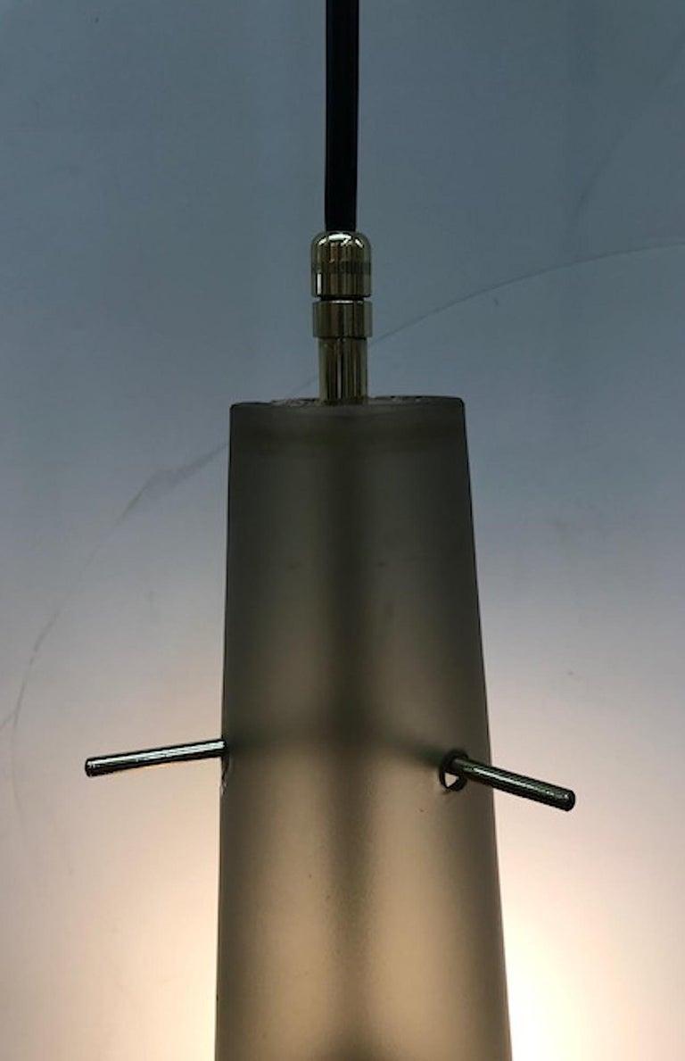 Mid-Century Modern 1950s Grey Amber Satin Finish Glass Pendant Light For Sale