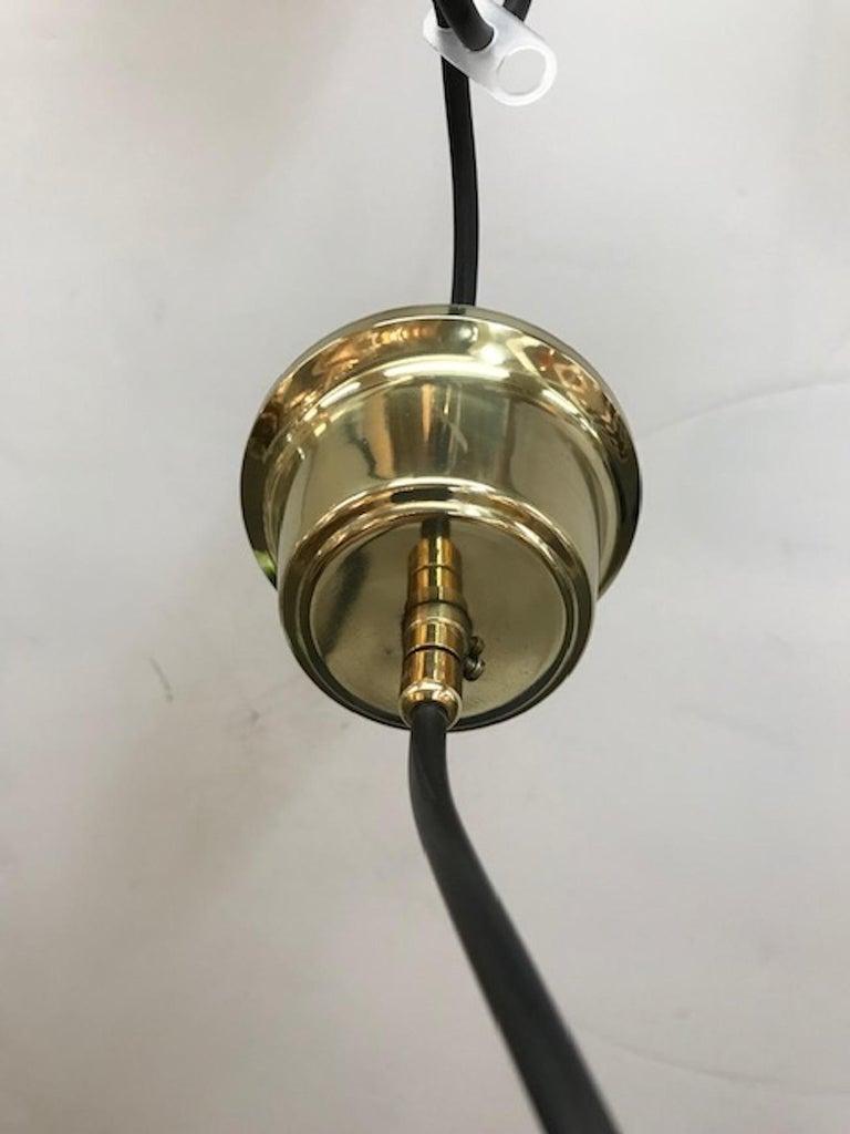 Brass 1950s Grey Amber Satin Finish Glass Pendant Light For Sale