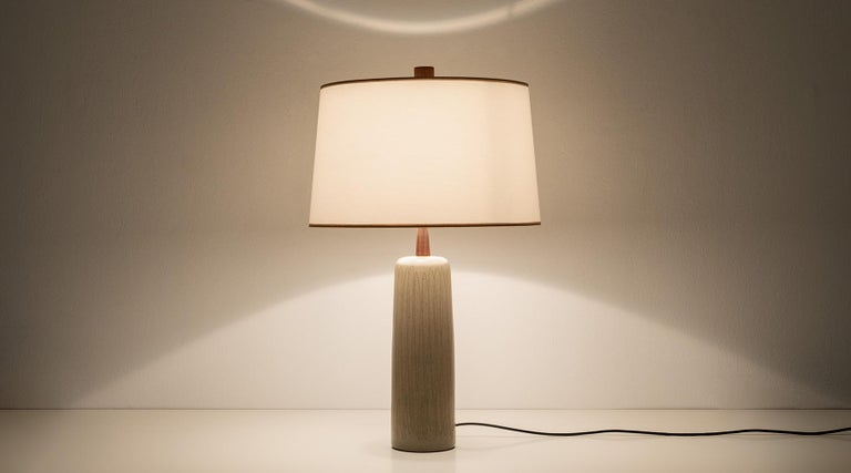 Table lamp, ceramic, white shadow, Jane and Fordon Martz, USA, 1954  Stunningly simple, attractive ceramic table lamp by the designers Jane & Gordon Martz. The lamps are in excellent condition, the earthy colors match the materials perfectly and