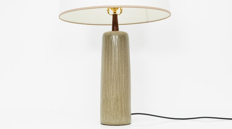 Brass 1950s Grey and Beige Table Lamp by Jane & Gordon Martz 'd' For Sale