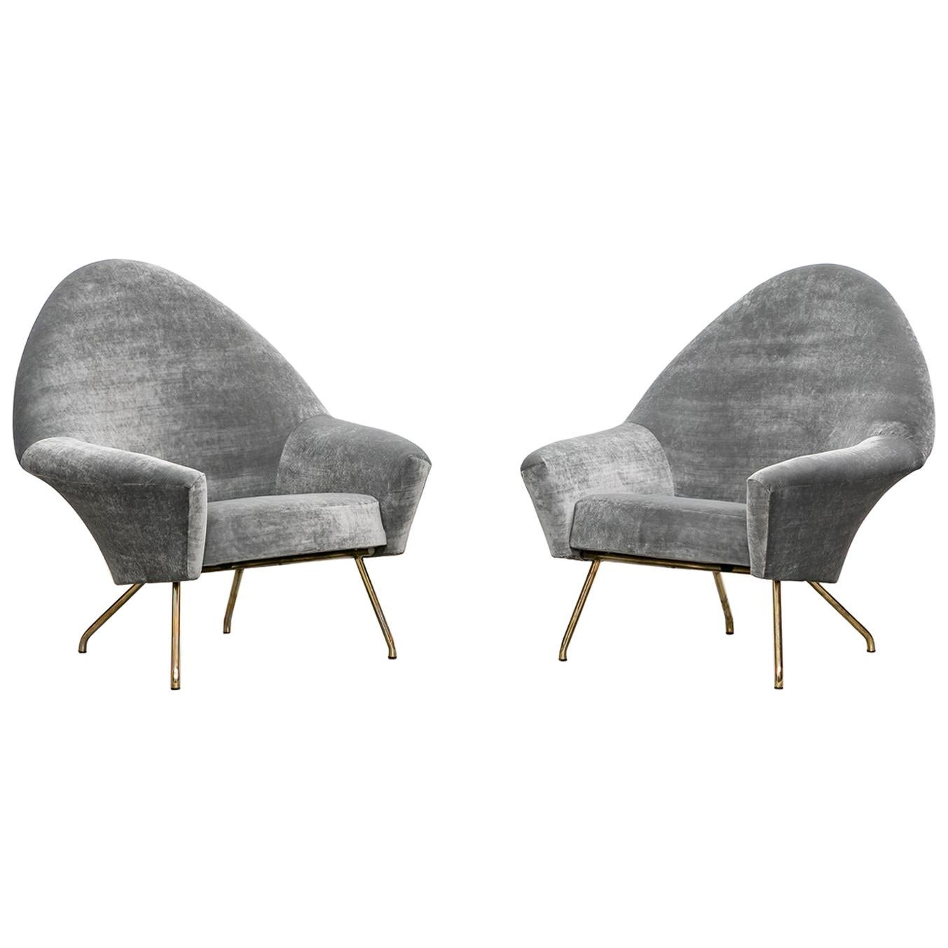 1950s Grey Fabric Lounge Chairs by Joseph-André Motte, New Upholstery