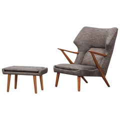 1950s Grey Fabric, Wooden Frame Lounge Chair with Ottoman by Kurt Olsen