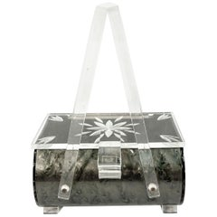 1950s Grey Iridescent Lucite Purse with Clear Accents