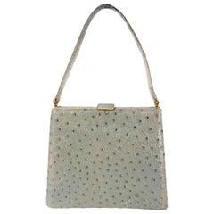 1950s Grey Ostrich Handbag