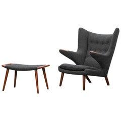 1950s Grey Papa Bear Chair with Ottoman by Hans Wegner