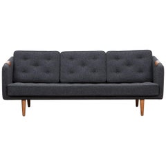 1950s Grey Sofa by Borge Mogensen, New Upholstery