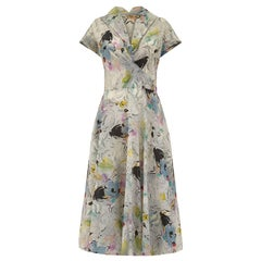 1950s Grey Textured Nylon Crepe Abstract Floral Print Dress