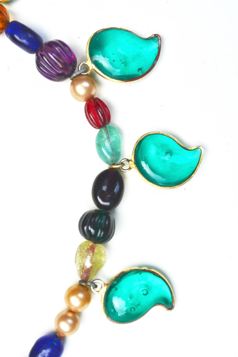 Unsigned 1950s-60s Gripoix for Chanel leaf necklace.  The beads and style are indicative of this era. I do think it was shortened a bit and the clasp changed and I am including a photo of a necklace from the same collection, listed separately. It is
