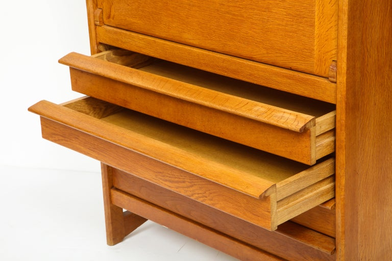 1950s Guillerme & Chambron Solid French Oak Chest of Drawers and Secretary For Sale 6