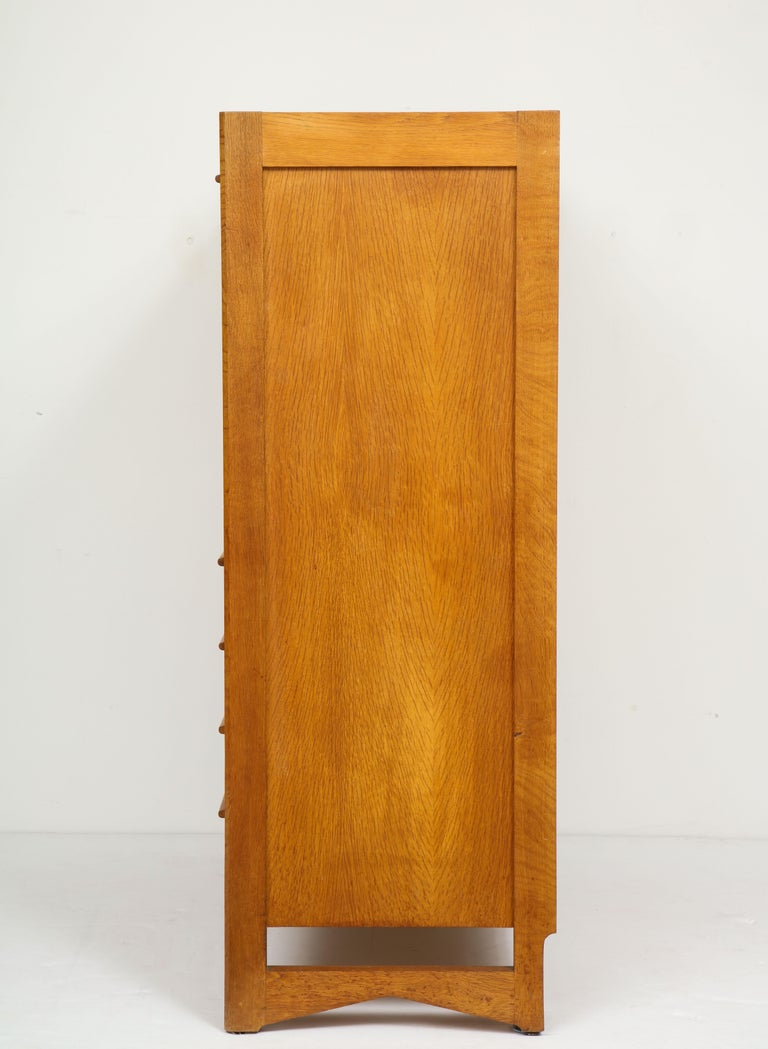 1950s Guillerme & Chambron Solid French Oak Chest of Drawers and Secretary For Sale 8