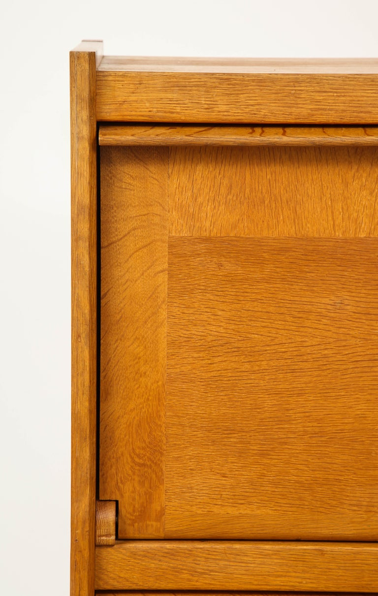 1950s Guillerme & Chambron Solid French Oak Chest of Drawers and Secretary In Good Condition For Sale In New York, NY