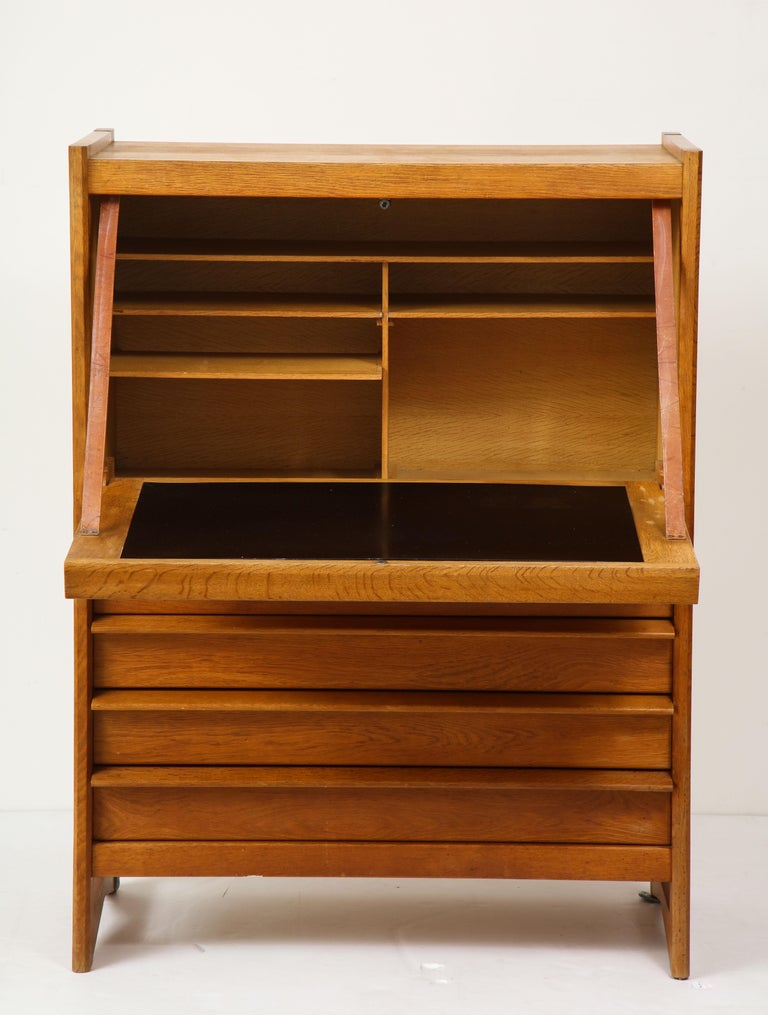 Mid-20th Century 1950s Guillerme & Chambron Solid French Oak Chest of Drawers and Secretary For Sale