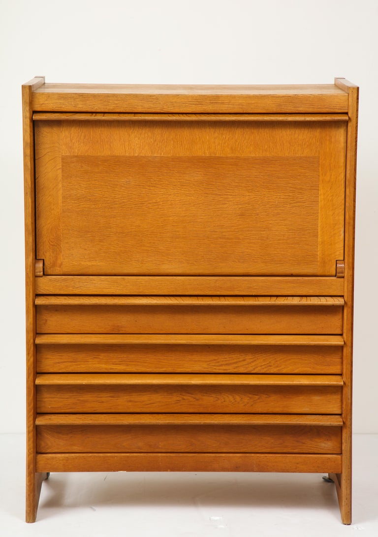 1950s Guillerme & Chambron Solid French Oak Chest of Drawers and Secretary For Sale 2