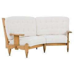1950s Guillerme et Chambron Curved Oak Sofa